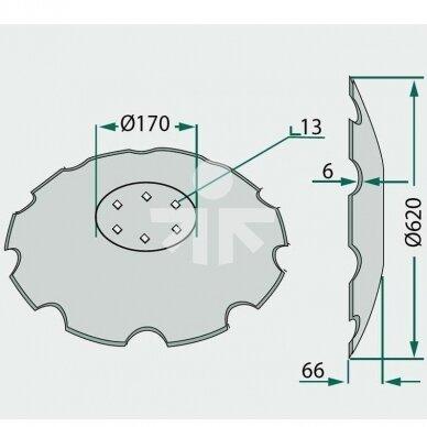 DISKAS 620x6 3490466 LEMKEN 6 SKYLIŲ 2