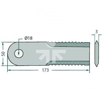 Smulkinimo peilis karpytas 173x50x3mm D18mm AGV Germany  RS51123/065294 2