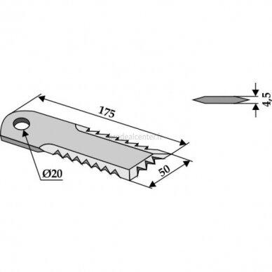 Smulkinimo peilis karpytas 173x50x4.5mm D20mm  HF44443 / 84068444 / D49074600 AGV Germany 2