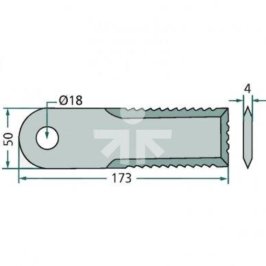 Smulkinimo peilis karpytas 173x50x4mm D18mm AGV Germany RS42250/060017.4Z/Z55610/Z77601/89510635 2
