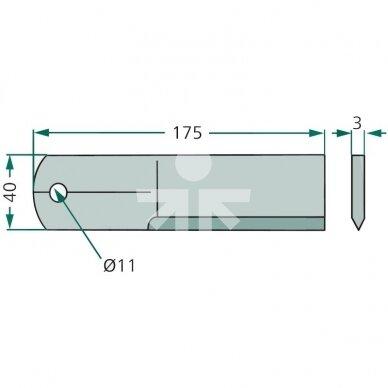 Smulkinimo peilis lygus 175x40x3mm D10,5mm AGV Germany RS51011.01/1322233C2 2