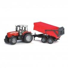 Žaislas Bruder traktorius MF su priekaba 02045